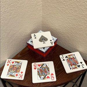 NEW.. Poker Coaster Ceramic Set..
